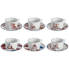 Natsumi, Tea Set with Six Contemporary Porcelains with Decorative Design