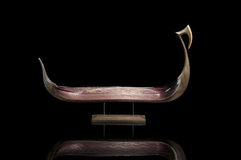 Nattesværdet, a glass & wooden unique Sculpture by Backhaus & Brown and Egeværk For Sale 4