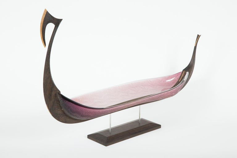Fine cabinet making & crafted oak with handblown & cut amethyst glass combine to create this unique sculpture