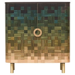 Natūra Straw Marquetry Wood Cabinet RUDA Studio