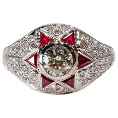 Natural 0.50 Ct Ruby 0.80 Ct Diamond 18Kt White Gold Cocktail Halo Ring in Stock
