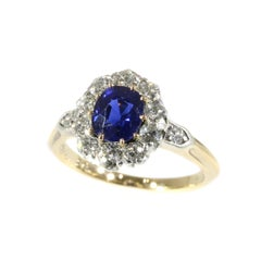 Natural 0.95 Carat Burma Sapphire and Diamond Gold Engagement Ring