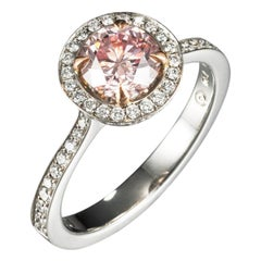 Natural 1.01 Carat Fancy-Intense Pink Round Brilliant-Cut Diamond Solitaire Ring