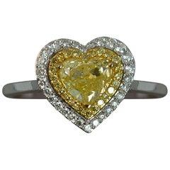 Natural 1.03 Carat Yellow Heart Cut Diamond 18 Carat Gold Ring