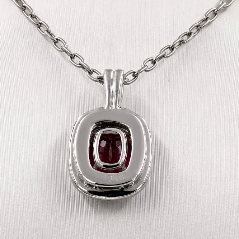 Natural 10.91 Carats Madagascar Tourmaline and Diamond Necklace In New Condition For Sale In Chicago, IL
