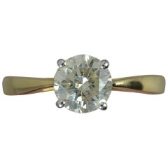 Natural 1.12 Carat Diamond and 18 Carat Gold Solitaire Engagement Ring