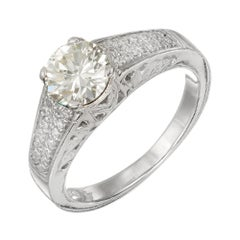GIA Certified 1.12 Carat Green Yellow Round Diamond Platinum Engagement Ring