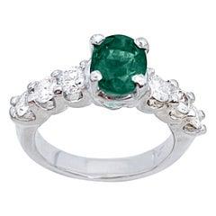 Natural 1.25 Carat Oval Cut Emerald & 0.90 Carat Diamond Ring Platinum
