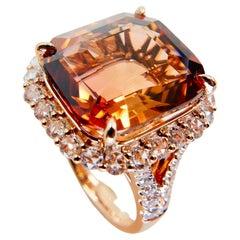 Natural 13 Carat Orange Tourmaline & Rose Cut Diamond Statement Cocktail Ring