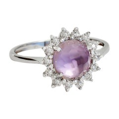 Natural 1.40 Carat African Amethyst Ring with 14 Diamonds Set in White Gold