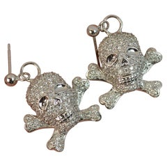 Natural 1.50 Carat Diamond 18 Carat White Gold Skull Crossbones Earrings