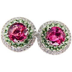 Natural 1.53 Carat Vivid Neon Pink Spinel Peridot and Diamond Earrings, 18k Gold