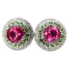 Natural 1.53 Carat Vivid Pink Spinel Peridot and Diamond Earrings, 18 Karat Gold