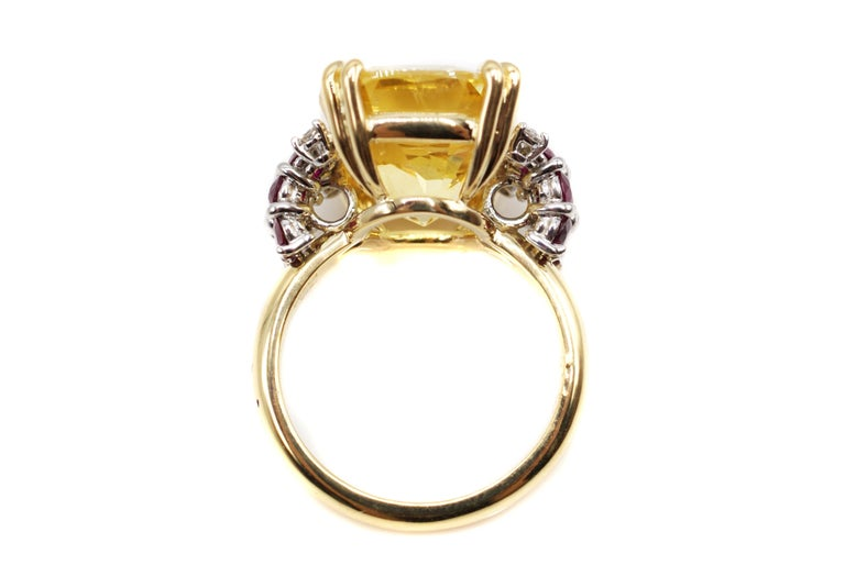 Contemporary Natural 16.68 Carat AGL Certified Yellow Sapphire Ruby Gold Platinum Ring For Sale