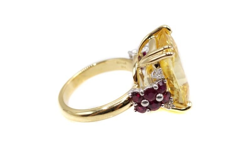 Cushion Cut Natural 16.68 Carat AGL Certified Yellow Sapphire Ruby Gold Platinum Ring For Sale