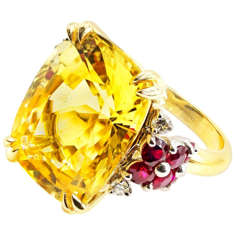 Natural 16.68 Carat AGL Certified Yellow Sapphire Ruby Gold Platinum Ring For Sale