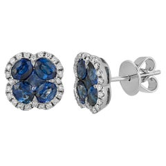 Natural 1.89 CT Sapphire 0.28 CT Diamonds in 18K White Gold Stud Earrings