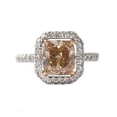 GIA Certified Natural Fancy Yellowish Orangey  Diamond Ring
