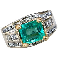 Natural 2.20 Carat Colombian Emerald Diamond Palladium and 18 Karat Ring