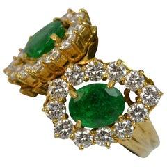 Natural 2.20 Carat Emerald and 2.00 Carat Diamond 18 Carat Gold Cluster Ring