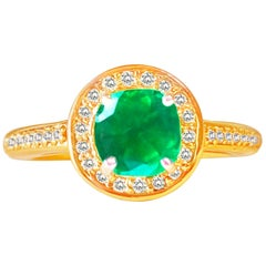 Natural 2.25 Carat Colombian Emerald and Diamond Engagement Ring