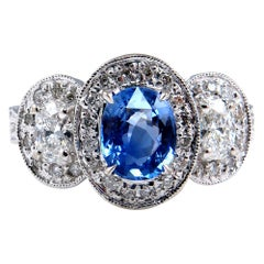 Natural 2.28 Carat Blue Sapphire and Diamond Anniversary White Gold Ring
