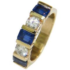 Natural 2.40 Carat Sapphire Diamond Band 14 Karat A+ Classic Channel Deco