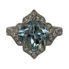 Natural 2.87 Aquamarine Cushion and White Diamond Ring