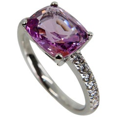 Natural 2.99 Carat Pink Spinel and Diamond Cocktail Ring Set in 18 Karat Gold