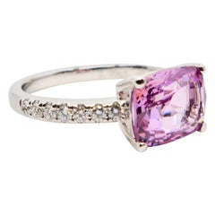 Natural 2.99 Carat Pink Spinel and Diamond Ring Set in 18 Karat White Gold