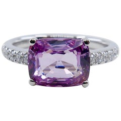 Natural 2.99 Carat Purple Spinel and Diamond Ring Set in 18 Karat White Gold