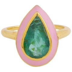Natural 3.16 Carat Zambian Emerald Pear Ring with Pink Enamel in 18 Karat Gold