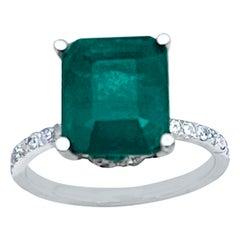 Natural 3.2 Carat Emerald Cut Emerald & Diamond Ring 18 Karat White Gold