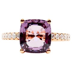 Natural 3.22 Carat Purple Spinel and Diamond Ring Set in 18 Karat Rose Gold