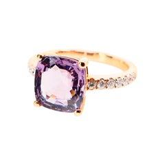 Natural 3.22 Carat Purple Spinel and Diamond Ring Set in 18 Karat Rose Gold