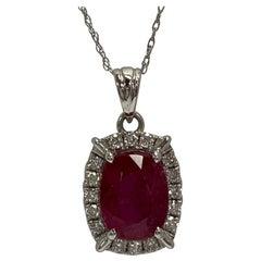 Natural 3.22 Carat Ruby and Diamond Pendant