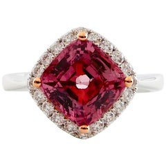 Natural 3.40 Carat Dark Pink Spinel and Diamond Ring Set in 18 Karat White Gold