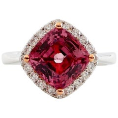 Natural 3.40 Carat Vivid Pink Spinel and Diamond Ring Set in 18 Karat White Gold