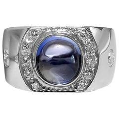 Natural 3.50 Carat Blue Sapphire VVS Diamonds Contemporary Cocktail Ring