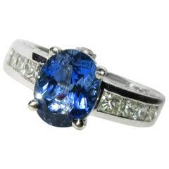 Natural 3.80 Carat Aquamarine Diamond Ring Vivid Blue