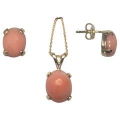 Natural 4 Carat Pink Orange Coral Earring Stud & Pendant Set 14k Yellow Gold