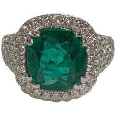 Natural 4.32 Carat Emerald Diamond Ring