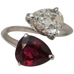 Natural 4.50 Carat No Heat Ruby Pear Cut Diamond Ring Contrarie 18 Karat
