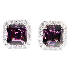 Natural 4.73 Carat Purple Asscher Step Cut Spinels & 0.67 Carat Diamond Earrings