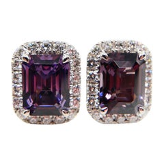 Natural 4.73 Carat Purple Step Cut Spinels and 0.67 Carat Diamond Earrings
