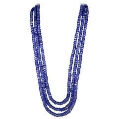 Natural 475 Carat Natural Tanzanite Bead Three-Strand Necklace 14 Karat Gold