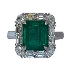 Natural 4.77 Carat Emerald and 1.68 Carat Diamond Ring