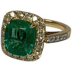 Natural 4.80 Carat Emerald and 0.93 Carat Diamond Ring