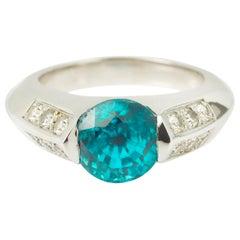Natural 5 Carat Blue Zircon Diamond 18 Karat White Gold Ring