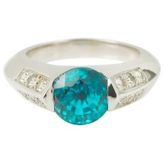Natural 5 Carat Blue Zircon Diamond 18 Karat White Gold Ring